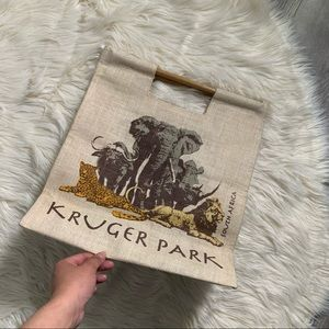 NWT KRUGER PARK SOUTH AFRICA BAMBOO HANDLE TOTE